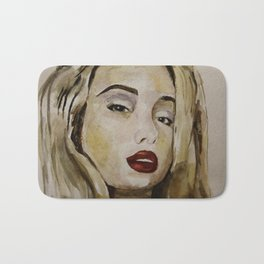 blonde with red lips Bath Mat