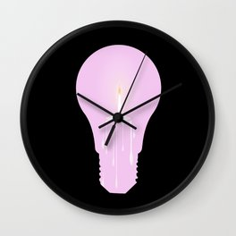 White Candle Light Bulb Wall Clock