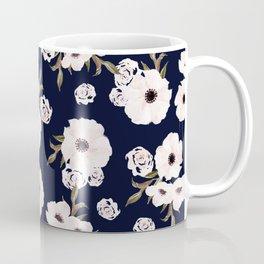 Flowers, Floral, Pattern, Blue, Minimal, Modern art Coffee Mug