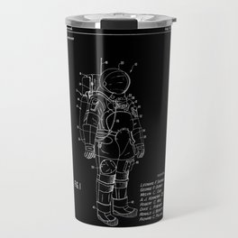 NASA Space Suit Patent - White on Black Travel Mug