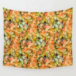 Orange Floral Scramble Wall Tapestry