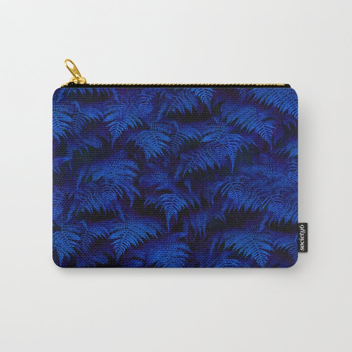 Deep Blue Fern Plant Wall Carry-All Pouch