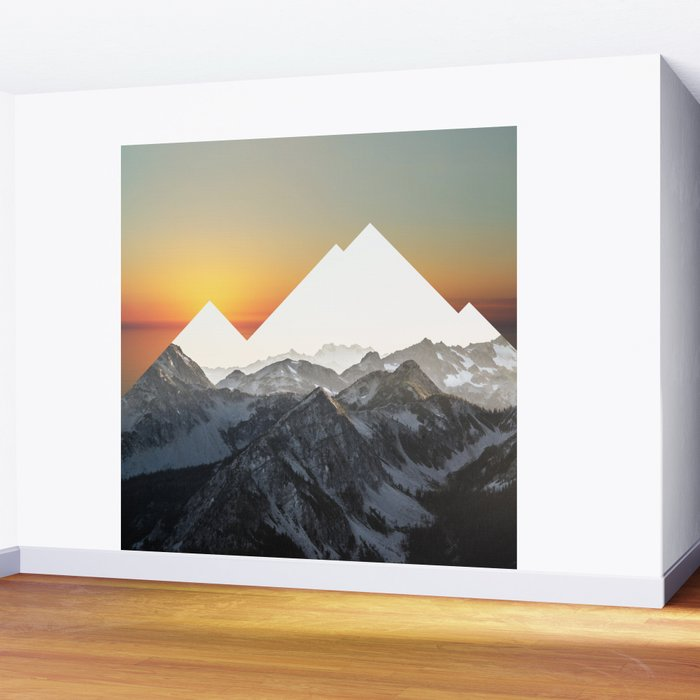 Vector Mountain Wall Mural by wheelerstudio Society6