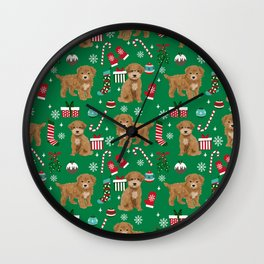 Bichpoo christmas dog breed holidays pet gifts pet friendly stockings candy canes snowflakes Wall Clock
