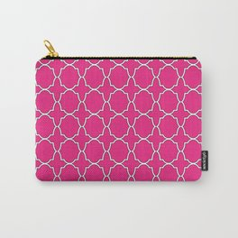 Rose Pink Quatrefoil Pattern Carry-All Pouch