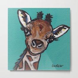 Giraffe Painting, Cute Giraffe Art, Safari Art Metal Print