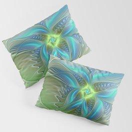 Flying Away, Abstract Shining Fractal Art Pillow Sham