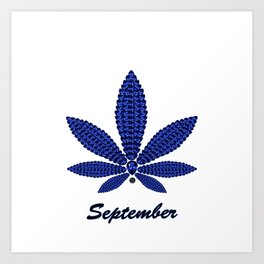 Birthstoned Leaf of Month, September Sapphire Art Print