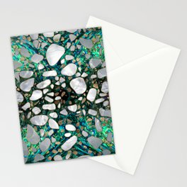 Terrazzo - Mosaic Abalone Pearl and Gold #5 Stationery Cards