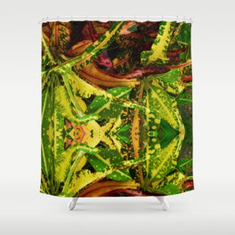 Tropical Croton Plant Shower Curtain