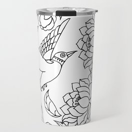 Chinese Ink Brush Painting Floral Chinoiserie Art Travel Mug