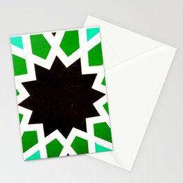 Oriental andalusia geometric ornament pattern in green Stationery Cards
