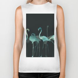 Cold Flamingos in the Night Biker Tank