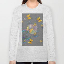 #2 YELLOW BUTTERFLIES  & SOAP BUBBLES GREY COLOR Long Sleeve T-shirt