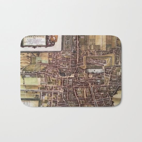 Replica city map of The Hague 1649 Bath Mat
