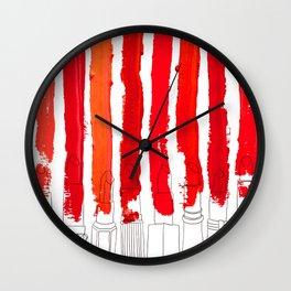Lipstick Stripes - Red Shades Wall Clock