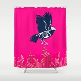 Electro Sparrow Shower Curtain