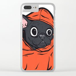 Black French Bulldog Hoodie Clear iPhone Case
