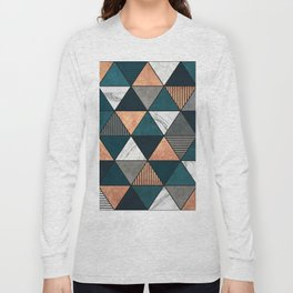 Copper, Marble and Concrete Triangles 2 with Blue Long Sleeve T-shirt