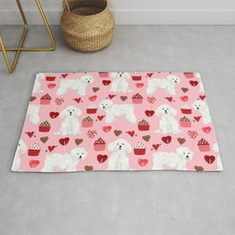 Bichon Frise valentines day dog gifts pet art portraits of your furry friend dog breeds Rug