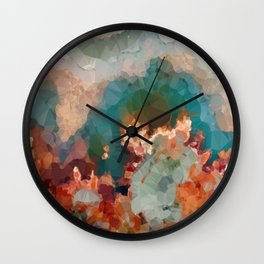 Turquoise Copper Agate Low Poly Geometric Triangles Wall Clock