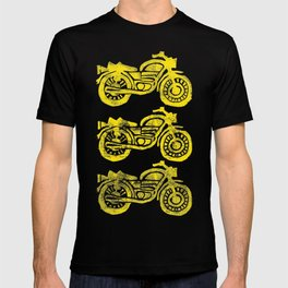Motorcycles Linocut Yellow Gold Navy Blue T-shirt