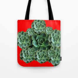 CHINESE  RED ART JADE GREEN SUCCULENTS Tote Bag
