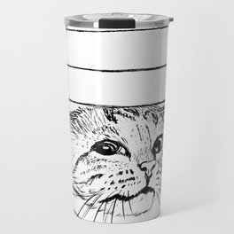 Cat in venitian blind Travel Mug