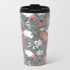 Seamless pattern design with hand drawn flowers and floral elements Metal Travel Mug