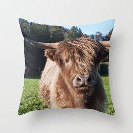 Cute Highland Cow #2 #wall #art #society6 Throw Pillow