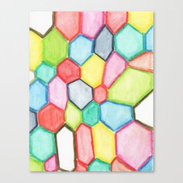 Wonky Hexagons WaterColored Canvas Print