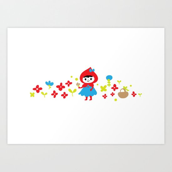 Red Riding Hood in the Forest Art Print