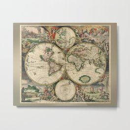 Old map of world (both hemispheres) Metal Print