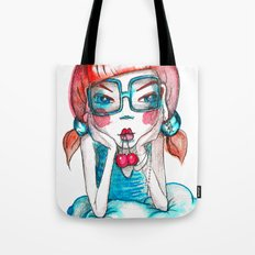girl with cherry Tote Bag