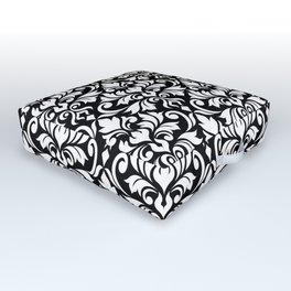 Flourish Damask Art I White on Black Outdoor Floor Cushion