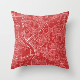 Springfield Map, USA - Red Throw Pillow