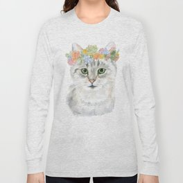 Gray Tabby Cat Floral Wreath Watercolor Long Sleeve T-shirt