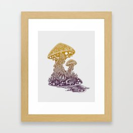 SHROOM SWAMP Framed Art Print