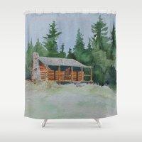 cabin Shower Curtains featuring Cabin by JeffAllenArtwork