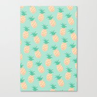 pineapple Canvas Prints featuring Pineapple   by Sibylline