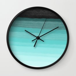 Blue brush abstract art stripes Wall Clock