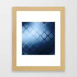 """Navy blue Damask Pattern"" Framed Art Print"