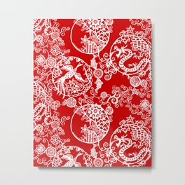 Pieces of China: Clusters (white on red) Metal Print