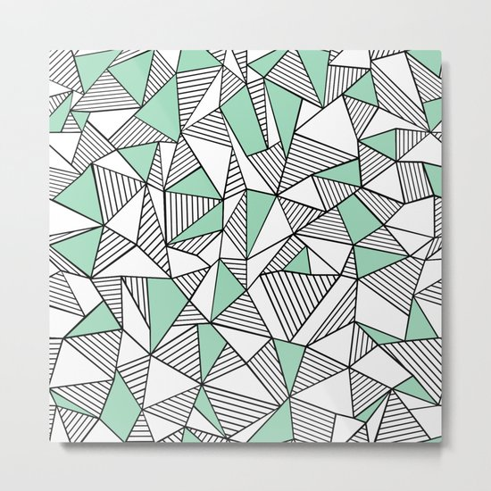 Abstraction Lines with Mint Blocks Metal Print
