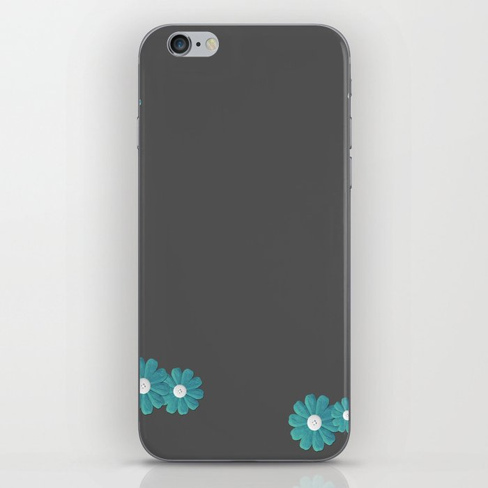 Gray,blue flowers iPhone Skin