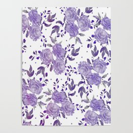 Bouquet of Purple Roses Poster