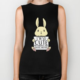 """A Cute Bunny Tee For Rabbit Lovers """"I'm So Cute My Parents Are Having Another"""" T-shirt Design  Biker Tank"""
