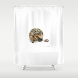"""Close Encounter"" painting of a Hedgehog and Snail by Teresa Thompson Shower Curtain"
