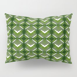 Grassy rhombuses of white stars with hearts in a bright intersection. Pillow Sham