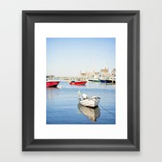 Boats Reflecting in Harbor in Nantucket Framed Art Print